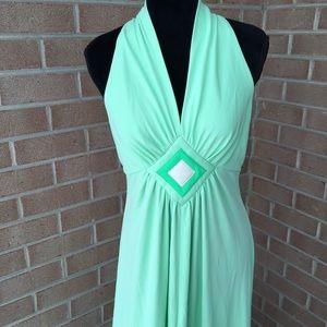 Vintage Mint Green Maxi Halter Dress